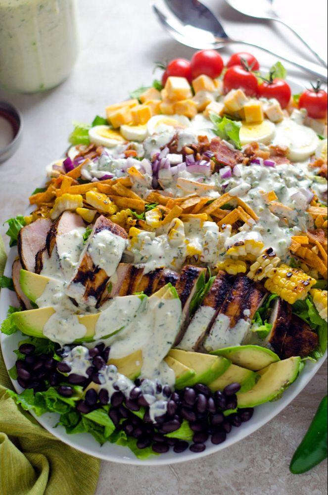 Southwestern Chicken Cobb Salad with Jalapeño Buttermilk Ranch - Host The Toast