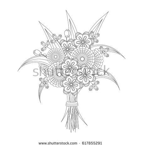 Bouquet Of Fantasy Flowers With A Bow Coloring Book For Adults And Children Black White Vector Illustration