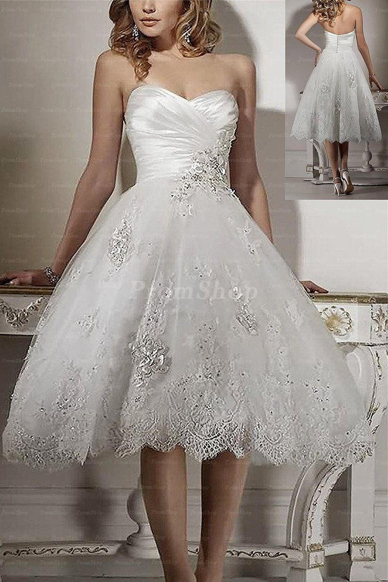 Fascinating white tealength aline sleeveless wedding dresses
