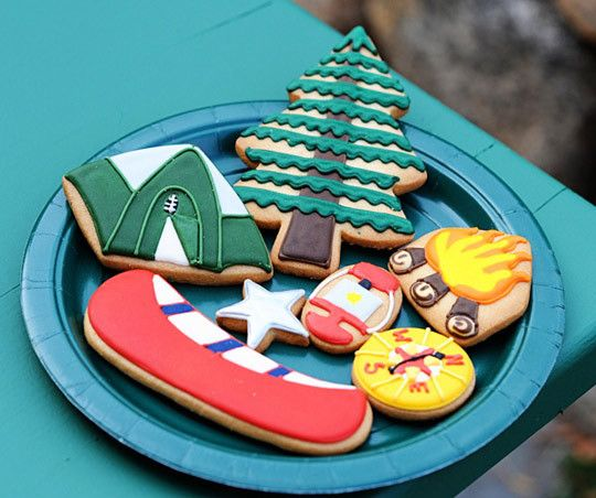 Camping theme decorated cookies, wish I had these cutters.