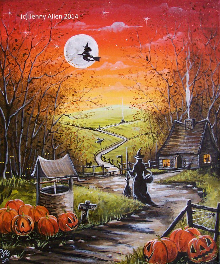 OOAK Original Halloween Painting on Canvas, Witch, Moon, Fall, Pumpkins Folk Art