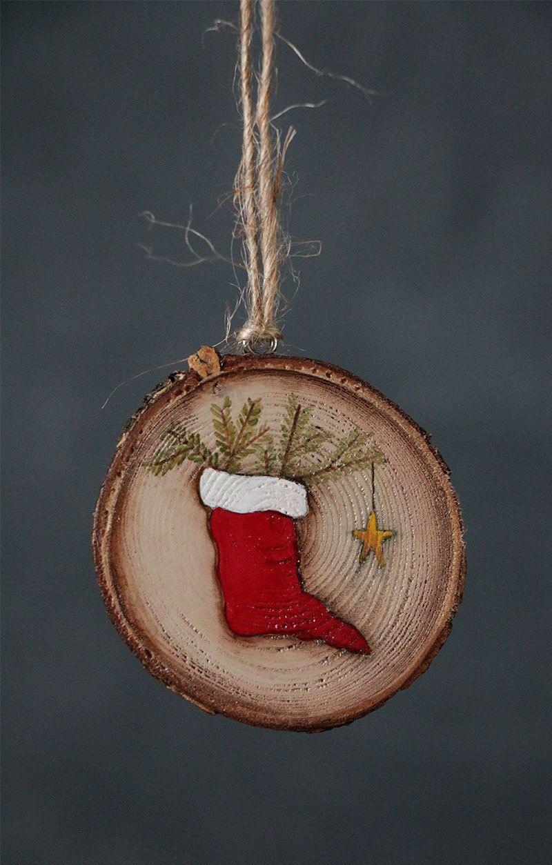 personalized ornament christmas stocking ornament wood slice ornament primitive christmas. Black Bedroom Furniture Sets. Home Design Ideas