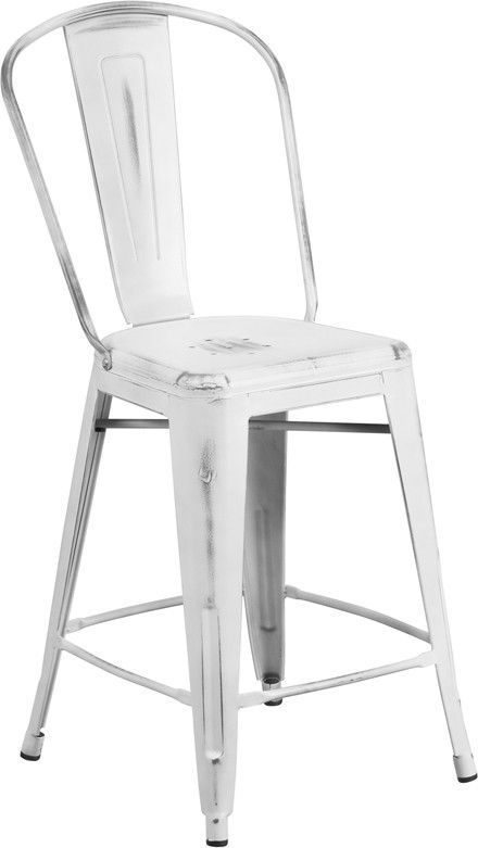 24 High Distressed White Metal Indoor Counter Height Stool With Back