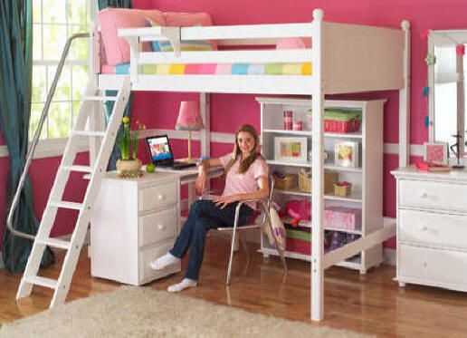 Want this for Jaylinn's Room   Stella White Loft Bed