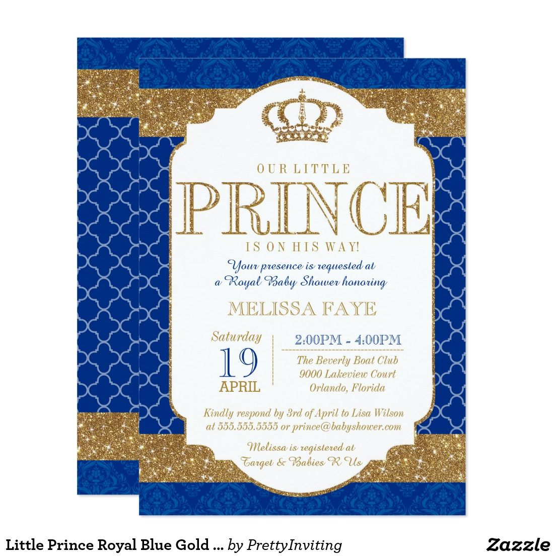 Little Prince Royal Blue Gold Baby Shower Invitations