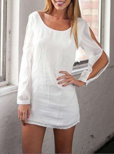 177d80b0d20 White Shirt Dress - Open Sleeve Design / Bow Back Detailing ...