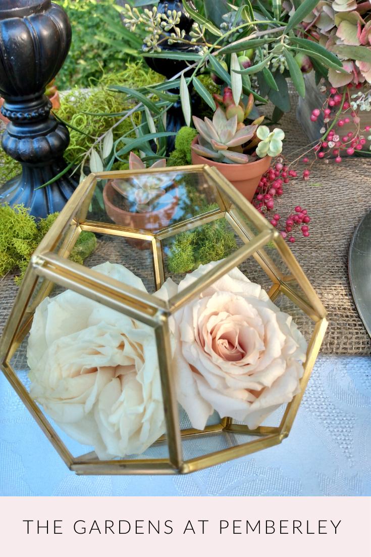 Rustic Woodland And Lush Garden Wedding Styled Shoot In Southern California G Flower Centerpieces Wedding Geometric Centerpiece Wedding Centerpieces Mason Jars