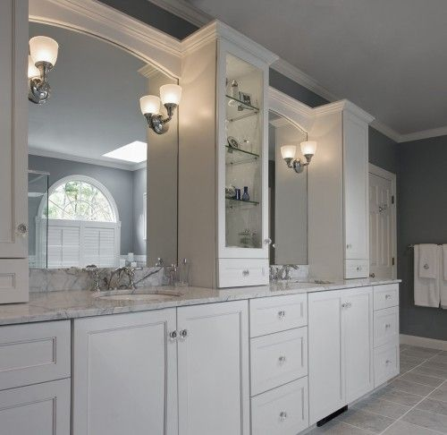 Totally Doing This In The Master Found 4 White Real Wood Construction Cabinets Just Like White Bathroom Designs Traditional Bathroom Bathroom Countertops Diy