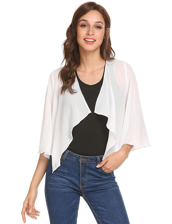 Women's Sheer Bolero Shrug Shawl Chiffon Thin Cardigan - Pure White -  C9180LZO34T | Shrug for dresses, Fashion, Sweater women outfit