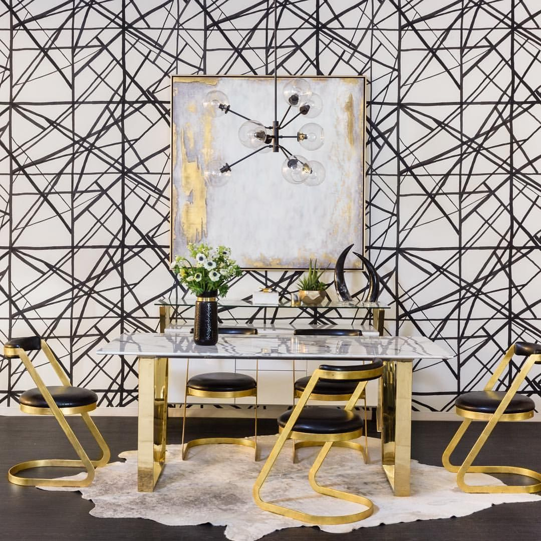 50 Bold And Inventive Dining Rooms With Brick Walls: Graphic Glamour. Our New Atlas Marble Dining Table With
