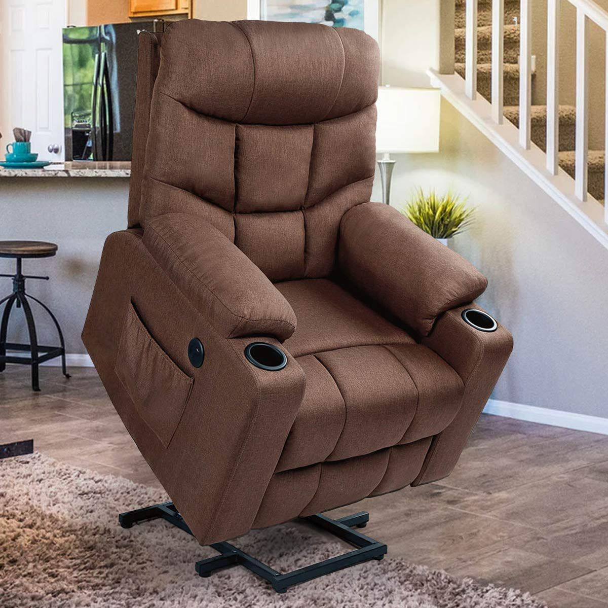 Esright Power Lift Chair Electric Recliner For Elderly Heated Vibration Fabric Sofa Moto Fabric Sofa Living Room Chairs Lift Chairs