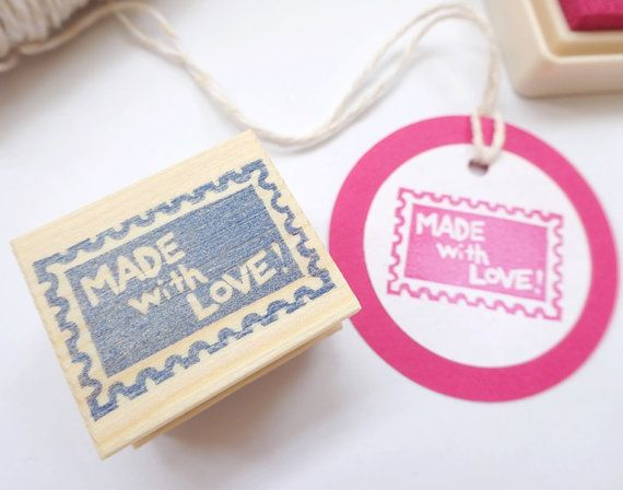 Made with LOVE stamp Stamp for handmade by JapaneseRubberStamps, £6.50