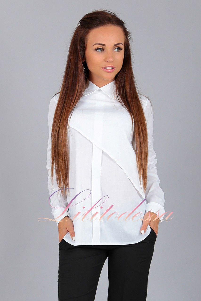 de137b3a59c Купить Рубашка асимметрия белая. блузки и туники женские от