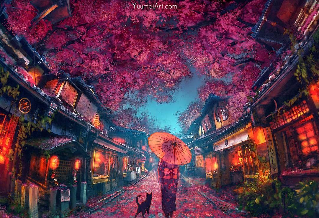 Sakura Festival By Https Www Deviantart Com Yuumei On Deviantart Fantasy Art Landscapes Anime Scenery Landscape Wallpaper
