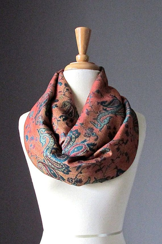 Orange Infinity Scarf  Green / Teal paisley  by ScarfObsession