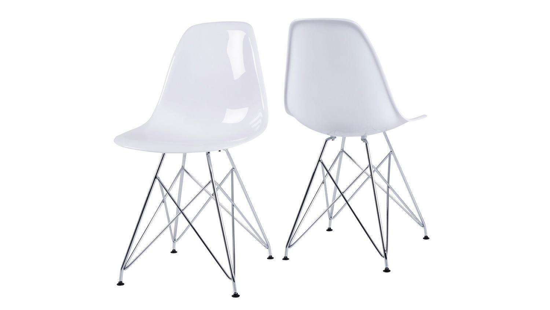 Stuhl KRISTALL 4er Set Esszimmerstuhl Metall verchromt und
