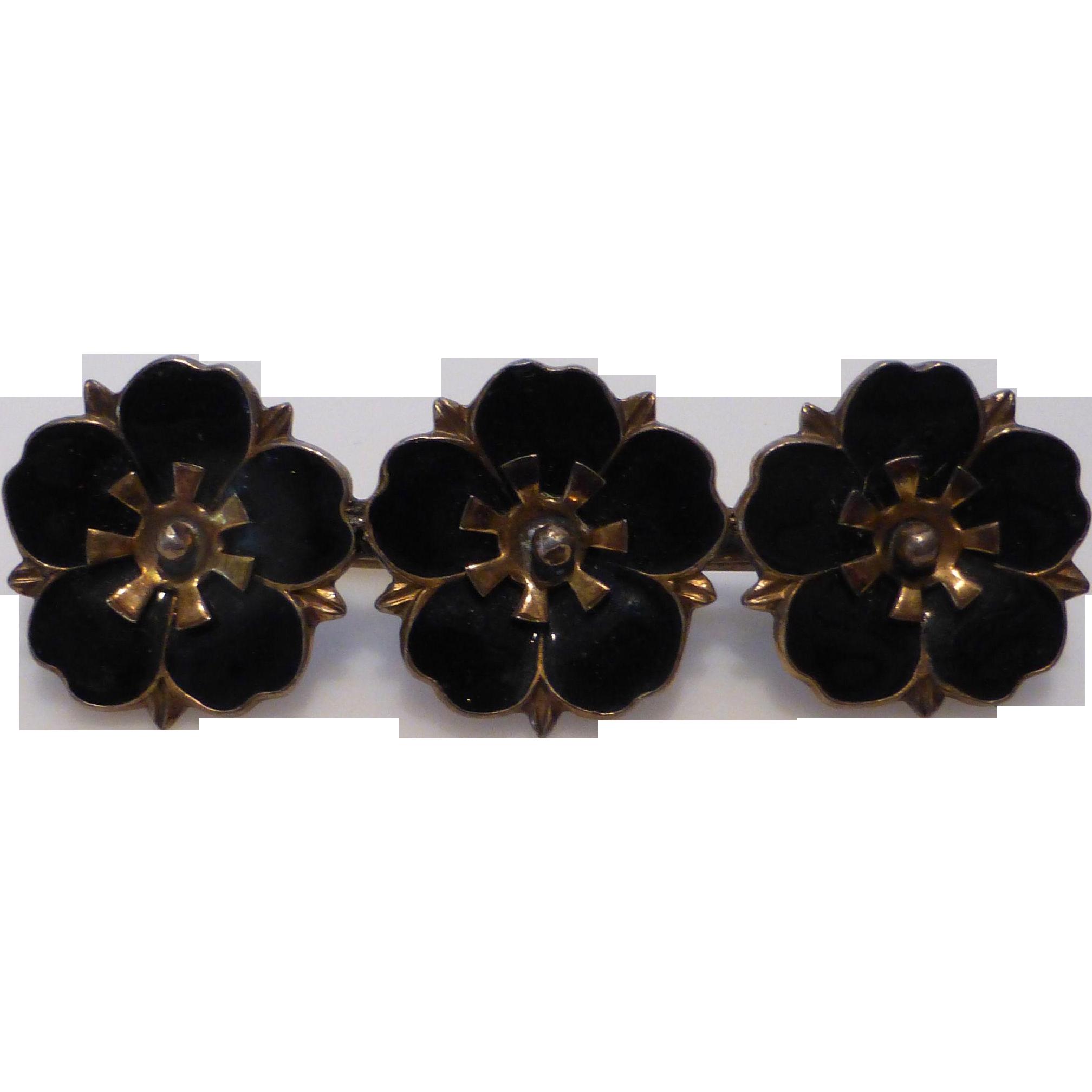 Vintage Aksel Holmsen Enameled Pansy Flower Pin - Circa 1940s Norway Sterling Silver Vermeil