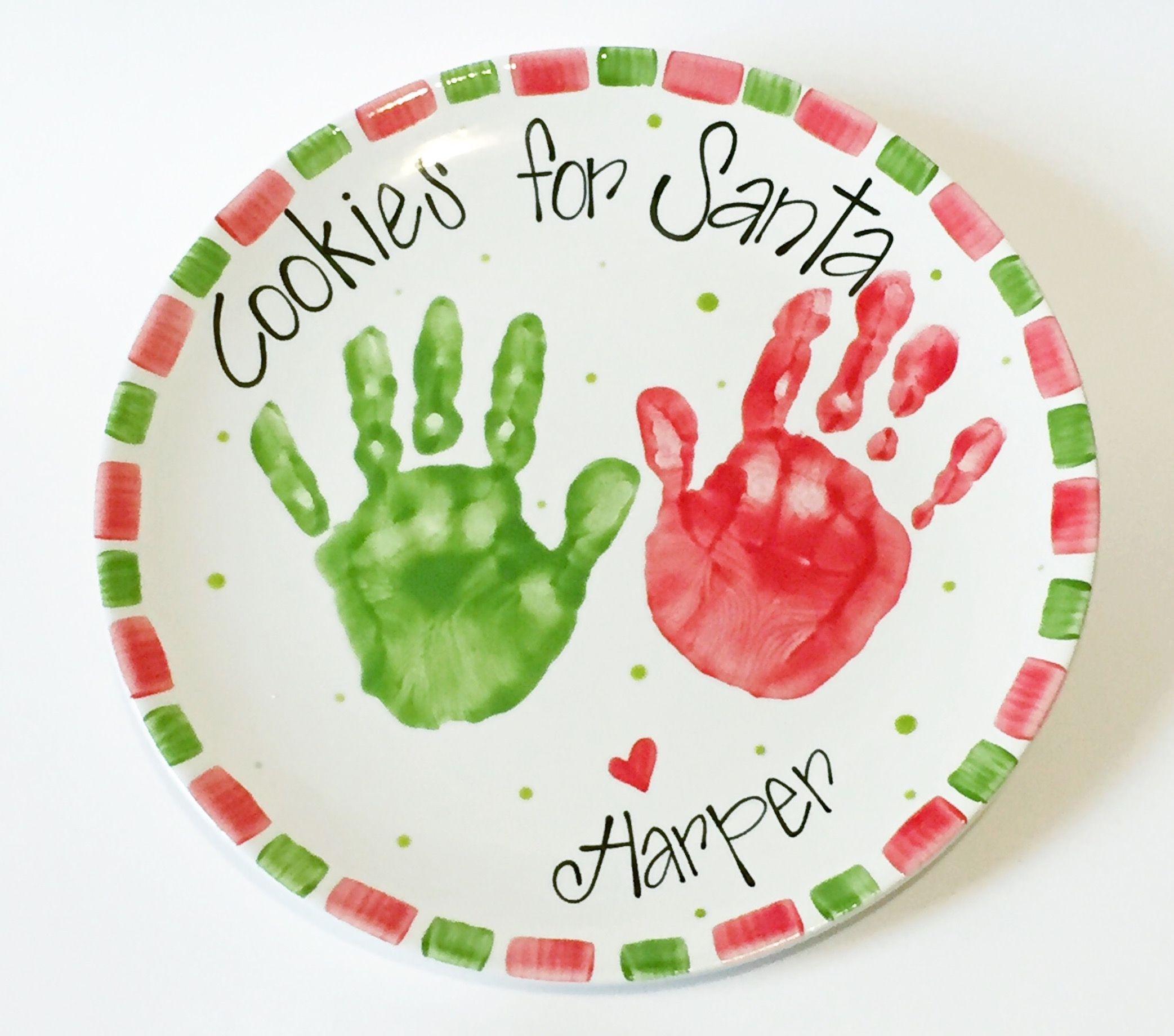 Cookies for Santa handprint plate. :: Brush Strokes Pottery : Austin ...