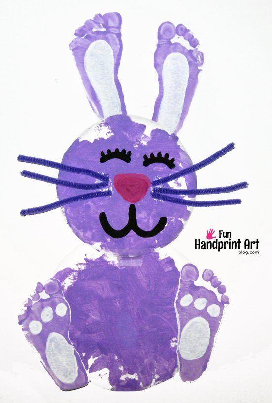 paper plate footprint bunny easter craft pinterest footprint