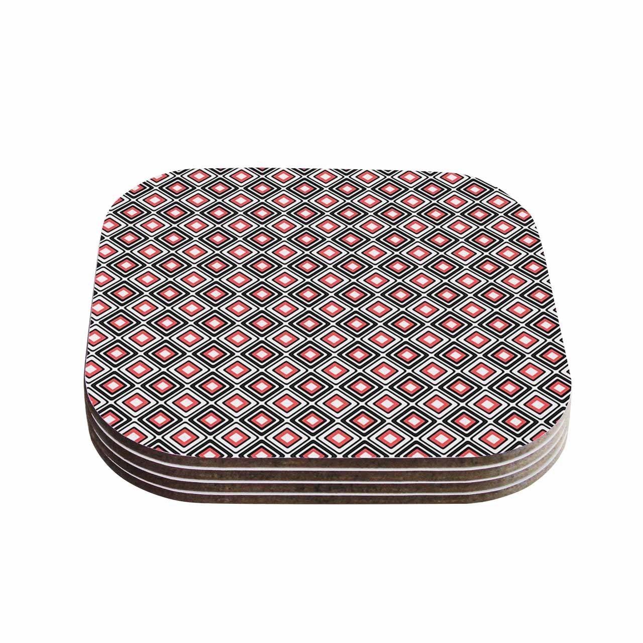 Kess InHouse Nandita Singh 'Bright Squares-Coral' Pattern Coasters