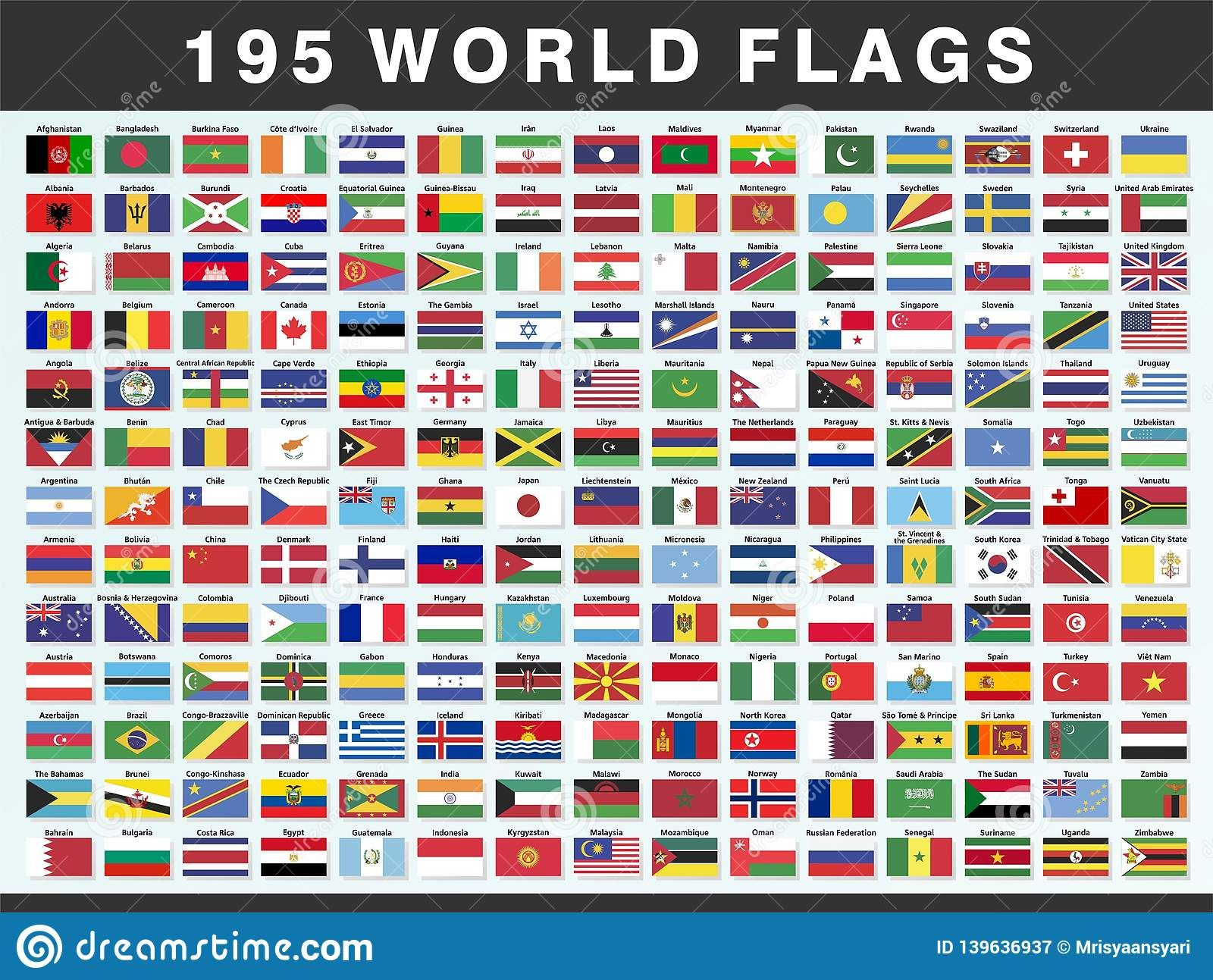 Illustration About Collection Set A Illustrator Vector Of 195 Flags Of The World With Their Names I In 2020 World Flags With Names Flags Of The World Flags With Names