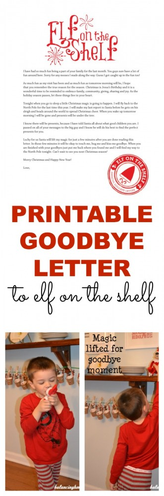 A Printable Goodbye Letter For Elf On The Shelf Perfect Way To