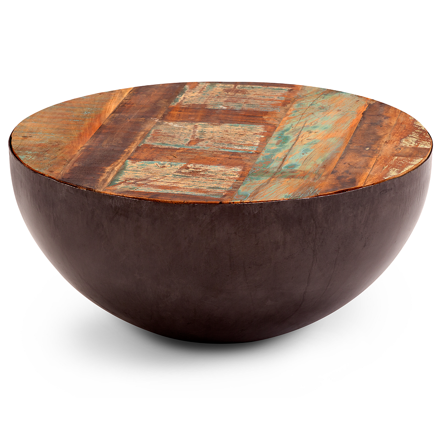 Reese Iron Round Coffee Table Is Made From Recycled Wood With Faint Paint Details Hinting At Its Reclaimed Round Coffee Table Unique Coffee Table Coffee Table [ 900 x 900 Pixel ]