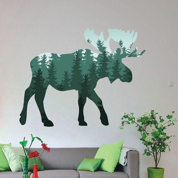 Moose Wild Animal Colored Wall Decals Nursery Bedroom