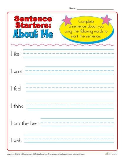 sentence starters for kindergarten and 1st grade projects to try sentence starters sentence. Black Bedroom Furniture Sets. Home Design Ideas