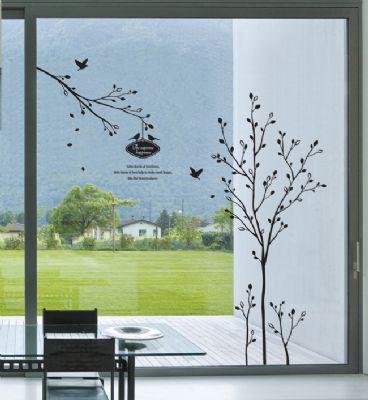 Black Tree And Birds WallWindow Stickers Wall Decals - Window decals for birds