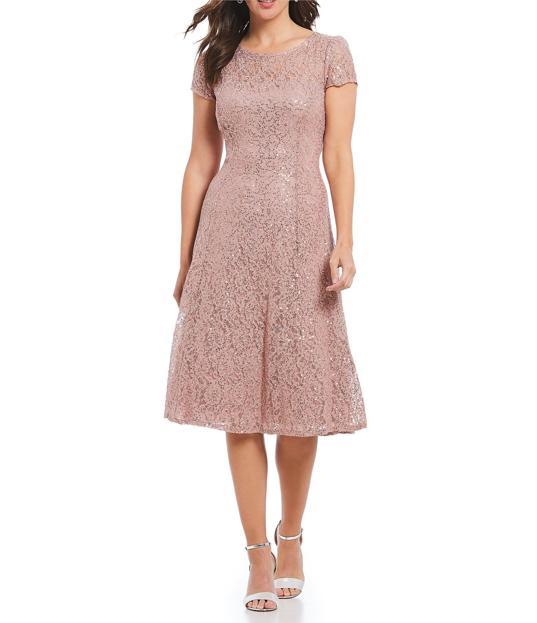 233e7359ff8 Shop for Ignite Evenings Cap Sleeve Sequin Lace Midi Dress at Dillards.com.  Visit Dillards.com to find clothing