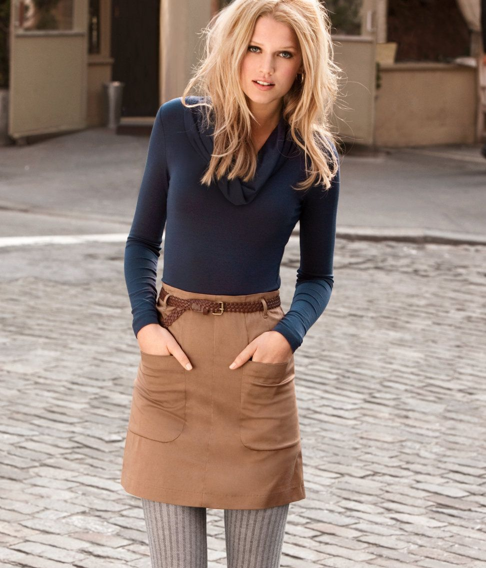 brown suede skirt and blue sweater top, tights | I like your style ...