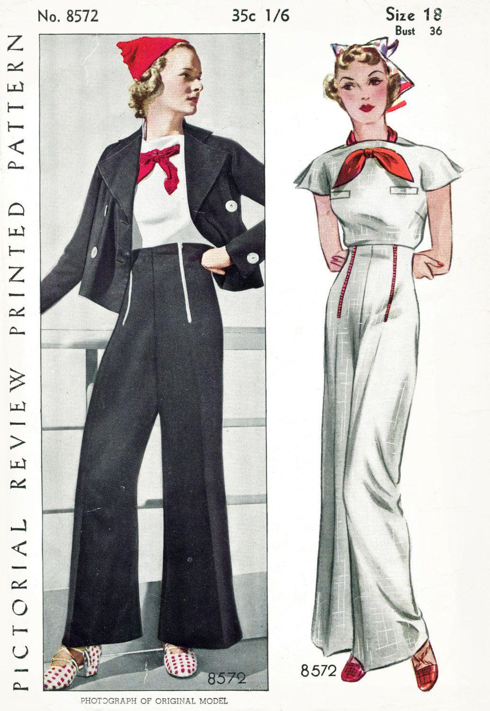 30s 1930s repro vintage women\'s sewing pattern sailor blouse ...