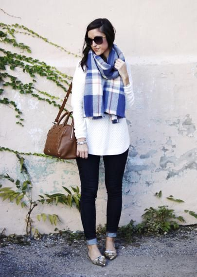 Have you checked out all of the amazing sales going on?! This cozy blue scarf is marked down, my gold flats are on super sale, AND this satchel is 50% off (and available in 5 colors!)! The pieces in this look are linked via @liketoknow.it right here :point_right: