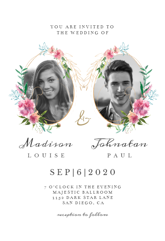 Sketchy Floral Double Photo Wedding Invitation Template Greetings Island Wedding Invitation Card Design Photo Wedding Invitations Free Wedding Invitation Templates