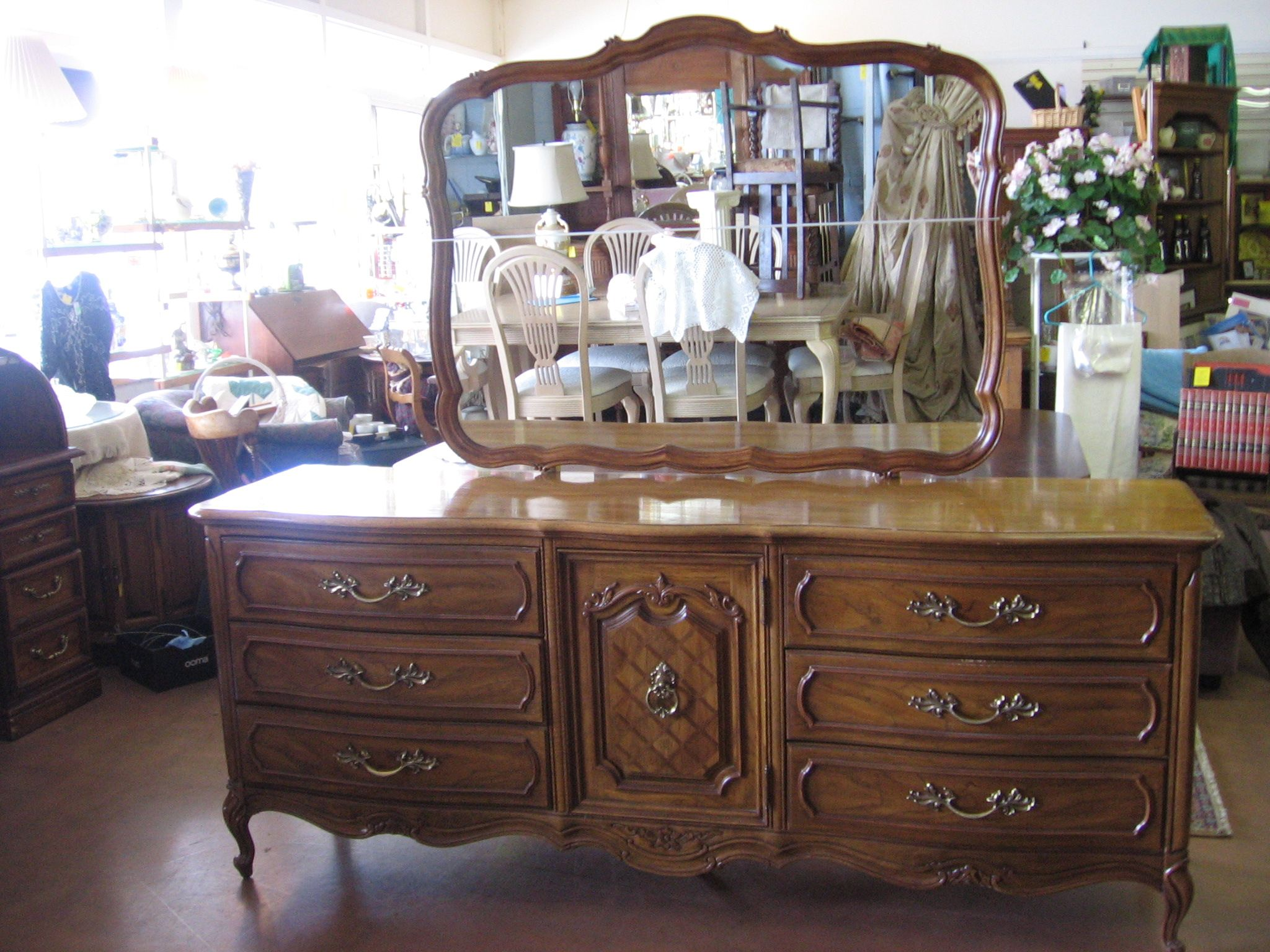 Thomasville French Provincial triple dresser and mirror