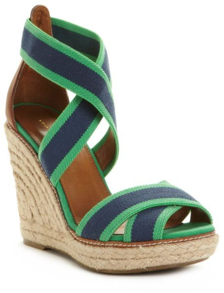 1e3ebe253 blue wedges | Tommy Hilfiger Venice Espadrille Wedges in Blue (green/blue)  - Lyst