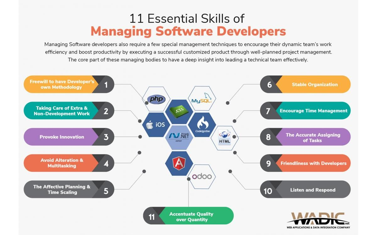 11 Essential Skills Of Managing Software Developers Software Development Development App Development