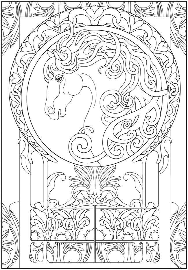 art nouveau horse coloring sheet for q - Art Nouveau Unicorn Coloring Pages
