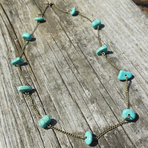 A Jolly Good Time Necklace  turquoise blue by MySoulCanDance on etsy