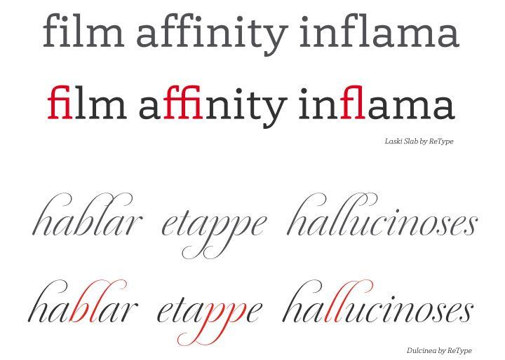 Opentype. Laski Slab and Dulcinea by ReType Foundry