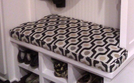 This fabric is not available but this mudroom bench cushion had some notches that we made for a perfect fit.