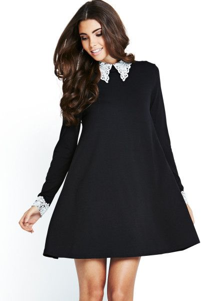 494ab101a5d8f1 Ax Paris Swing Dress with Lace Collar and Cuffs in Black - Lyst ...