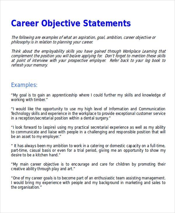7 Sample Resume Formats: 7 Sample Career Objective Statements Sample Templates