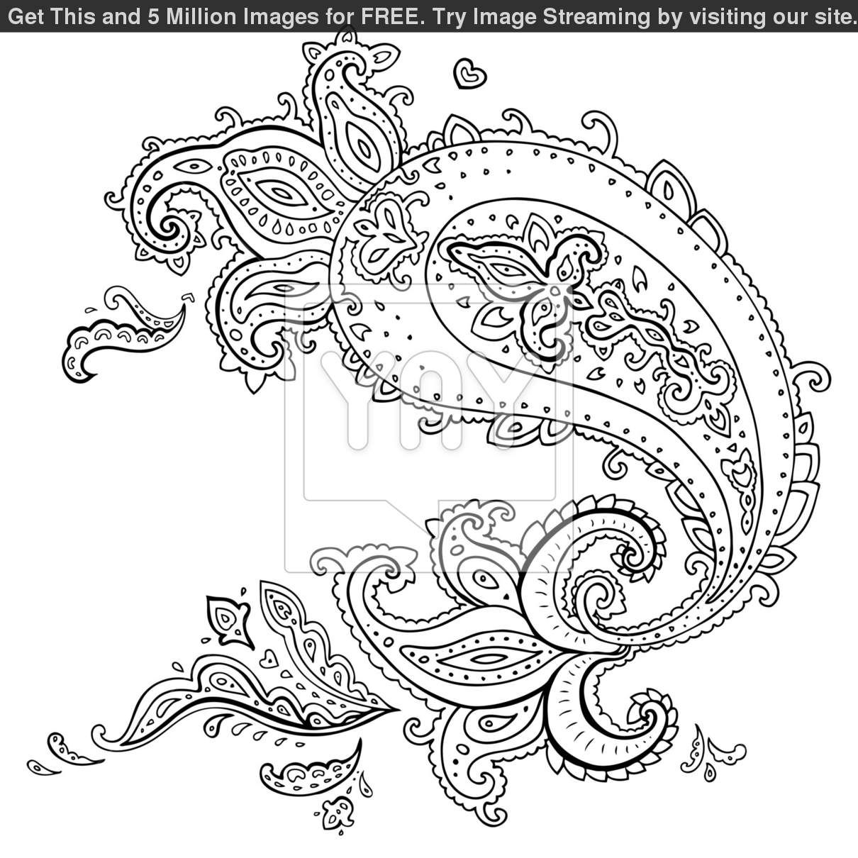 Paisley Design Coloring Pages for Adults Printable Adult