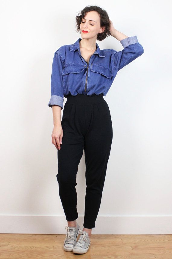 5c2f0e1ee576 Vintage 80s Jumpsuit Black Stirrup Pant Chambray Denim Shirt High Waisted  Pants 1980s Jumpsuit Soft Grunge One Piece Overalls Romper S Small  vintage   etsy ...