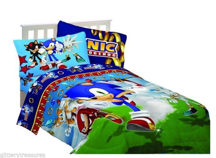 Kids Boys Sega Sonic The Hedgehog Reversible Comforter Set