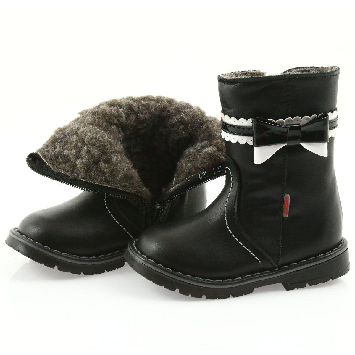 Kozaki Dla Dzieci Zarro Kozaczki Dziewczece Zarro 87 03 Czarne Boots Winter Boot Shoes
