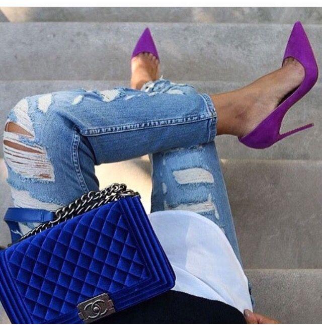 #violett #shoes #chanel #blue #color