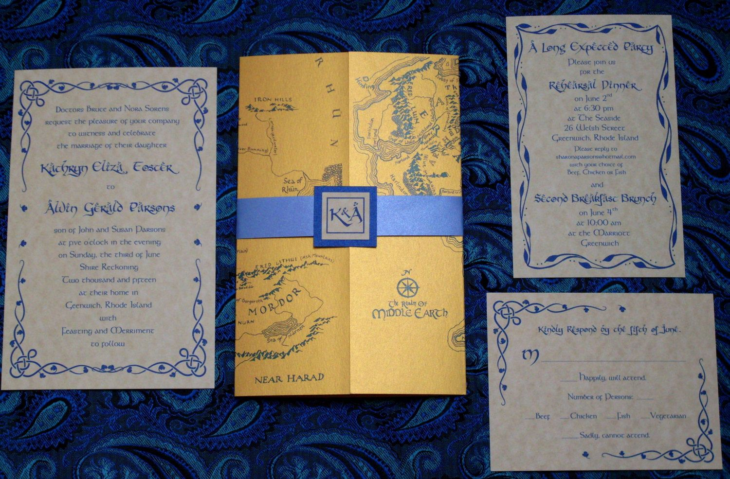 Lotr Middle Earth Map Wedding Invitation In Gold Blue Https Www Etsy Listing 276883024 65 Thank You Cards Ref